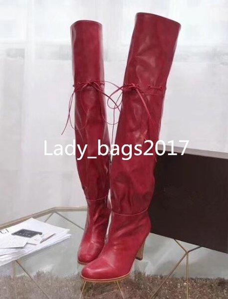 Luxo Top Quality Moda Feminina Hibiscus Lona Bege Vermelho Over-the-knee Designer de Inicialização 7.5 cm couro de ovelha costura stretch High Heel Boots