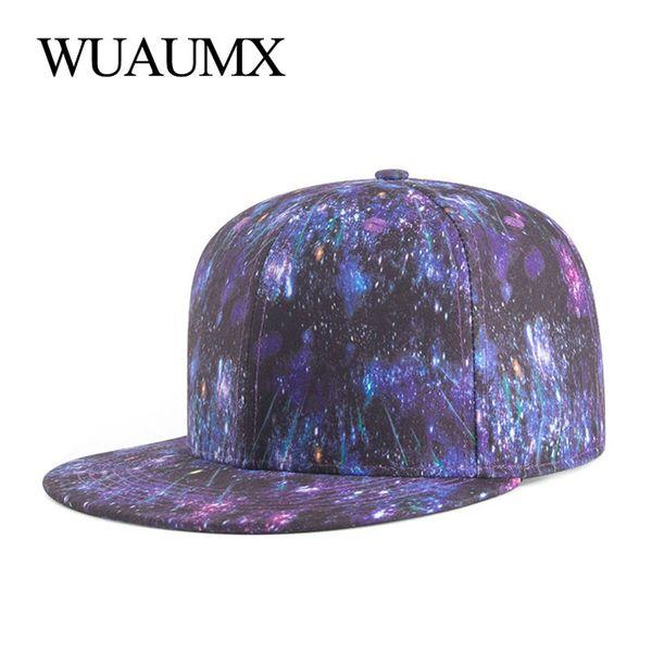 Wuaumx Unisex Baseball Caps With Straight Visor 3D Print Flat Bill Snapback Hip Hop Cap Men Women Trucker Hat casquette femme