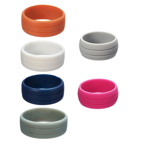 Wholesale- YYW 6 Size 7/8/9/10/11/12 8mm Simple Round Circle Mid Unisex Finger Ring Punk Colored Women Men Gifts European Silicone Rings