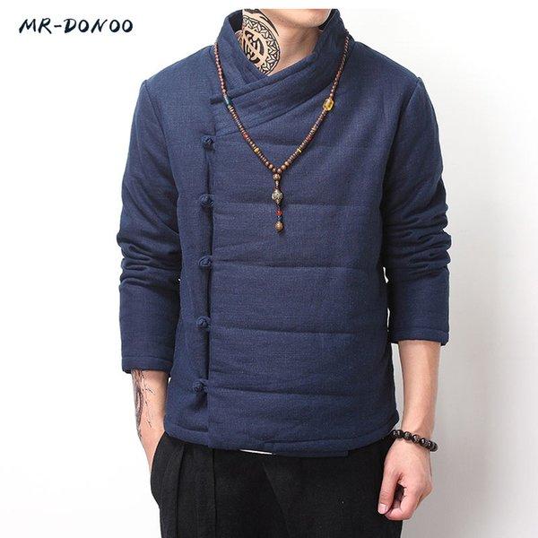 MRDONOO Invierno grueso de algodón - chaqueta acolchada masculina de viento chino retro chaqueta de lino de algodón de los hombres