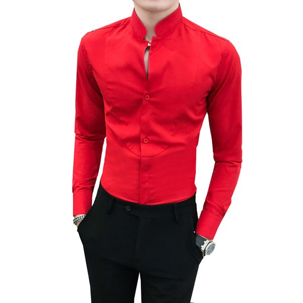 Autumn New Men Shirt Brand Long Sleeve Simple All Match Social Shirts Mens Slim Fit Stand Collar Night Club Tuxedo Gentlemen 3XL