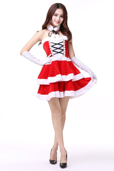 Christmas costume adult female bunny sexy COS ball red Santa Claus clothes ds costumes