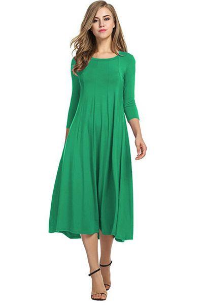 Casual Plus Size 3XL Midi Long Dress Women 2018 Spring Autumn 3/4 Sleeve Robe Femme Round Neck A Line Ladies Dresses