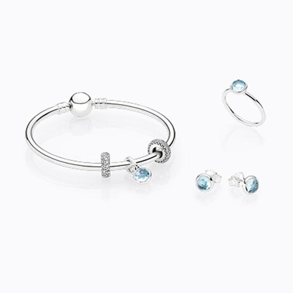 S925 Sterling Silver Bracelet Anneau Pendentif Boucle d'oreille costume Cristal Bleu Un cadeau de femme Mode classique Fabricant en gros