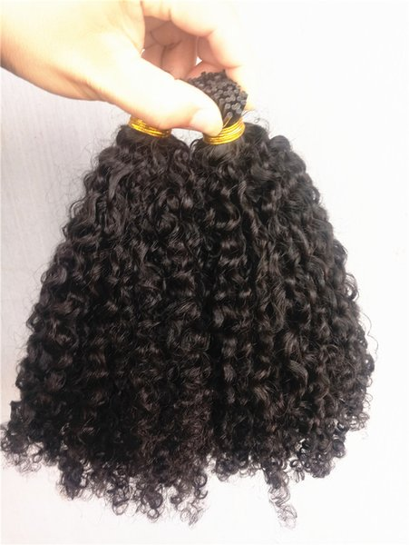 New arrive brazilian human kinky curly pre bonded hair exten ion natral black color 1g pc 100g one bundle
