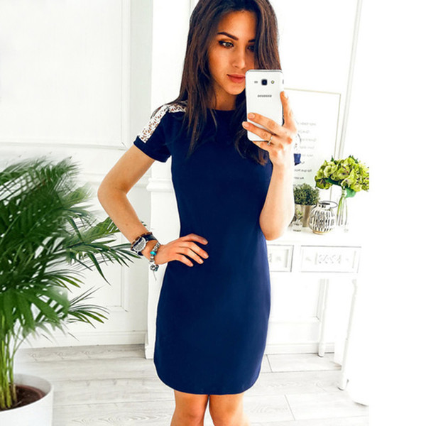 2018 Fashion Lace Stitching Hollow Out Summer Dress Women S Short Sleeve O Neck Casual Straight Mini Party Dresses Black Gray Dhgate Com Imall Com