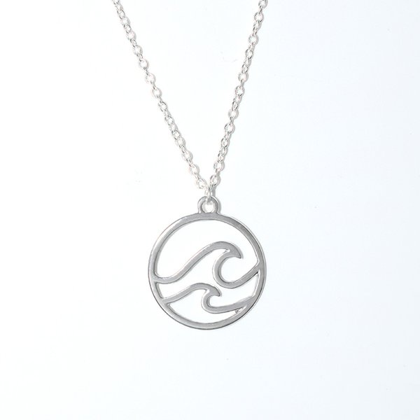 New Ocean Wave Pendant Necklace Beach Nautical Surfing Jewelry Choker Necklaces for Surfer's Ocean Party Gift