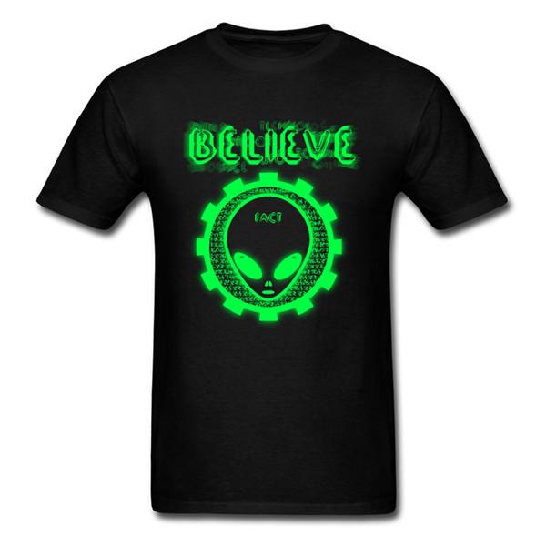 Printing Believe Alien Fact Green O-Neck T Shirts Thanksgiving Day Gift Boy Tops Shirt Hip Hop 100% Cotton Comfortable T-Shirt