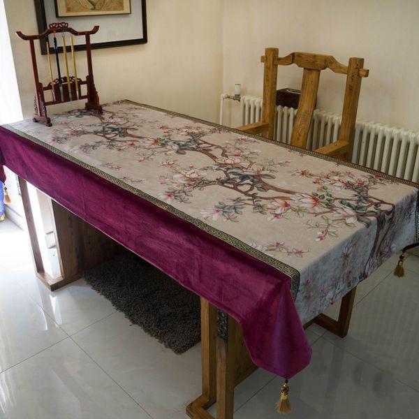 Table Cloth Blue Magnolia Flower Embroidery Wedding Room Sofa Home Hotel Bedding Villa Decoration Cushion Dresser Runner Cover