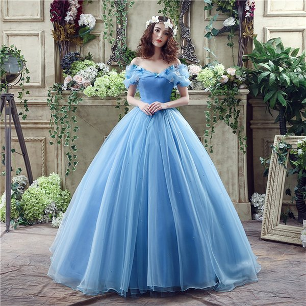 Real Image Cinderella Ocean Blue Prom Dresses Off Shoulders Beaded Butterfly Organza Long Backless Ball Gown Evening Party Gowns