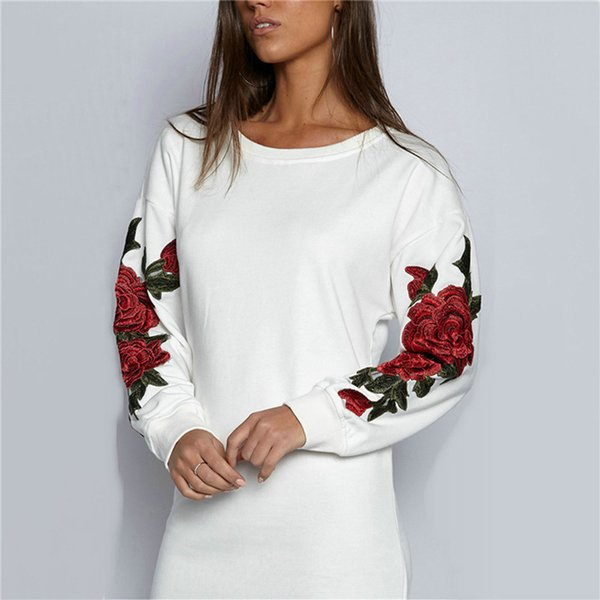 Polyester Plus Size S -5xl Autumn Long Sleeve Floral Embroidery Long Women Pullovers Hoodies Black And White Sweatshirt Hoodies Knitted
