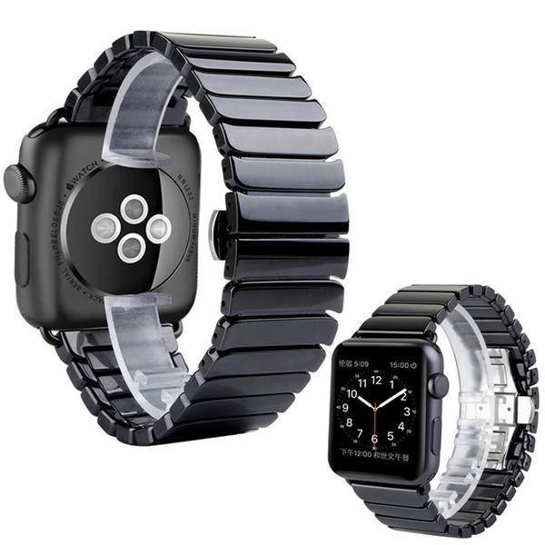Ceramic Watch Band  38/42mm Series 1 2 3 Link Bracelet Butterfly Buckle Black White Glossy Smart Watch Belt I83.
