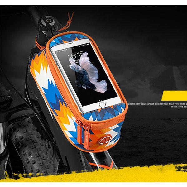 Panniers Marka Bisiklet Bisiklet Ön Baş Üst Çerçeve Tüp Telefonu Çanta Gidon Tutucu Pannier Kılıfı Dokunmatik Ekran Telefonu Çanta
