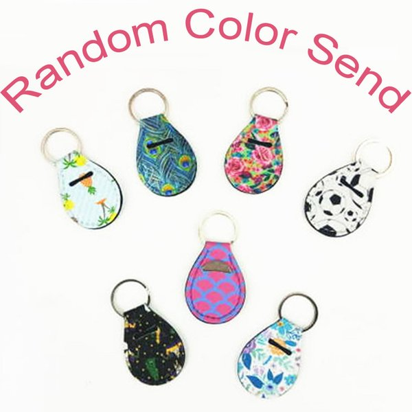 Coin Holder Chapstick Holder Neoprene Keychain Key Holder Floral Print with Metal Ring Support FBA Drop Shipping (Random Color Send) H525Q