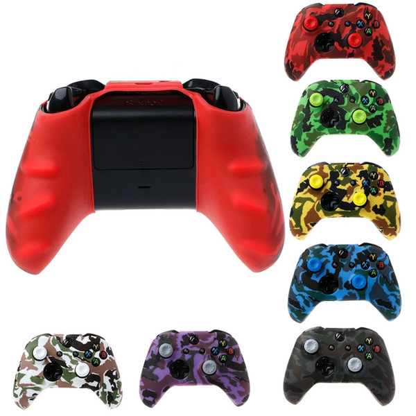 top popular Silicone Protective Skin Case Water Transfer Printing Camouflage Cover Grips Caps for XBox One X S Controller Protector 2020