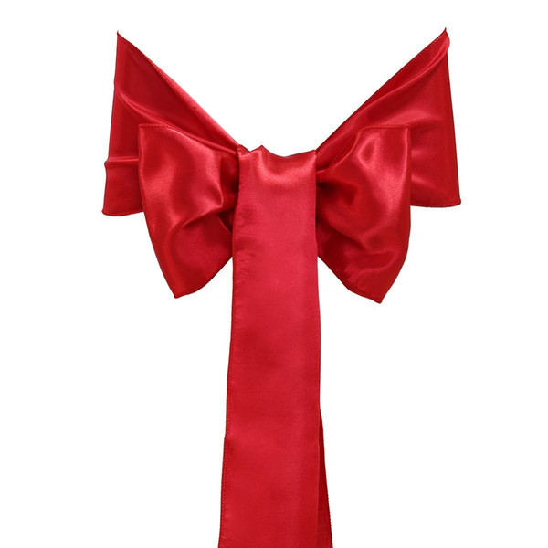 25pcs 15x275cm Elegant Soft Satin Bowknot Chair Cover Sashes Bows Ribbons for Wedding Banquet Party Decoration (Red)