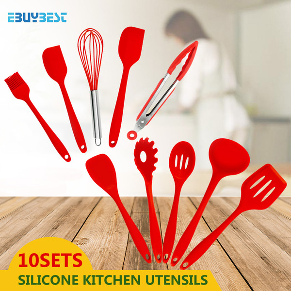 10pcs Cooking Tools Silicone Kitchen Utensils Spatula Spoon Tongs Ladle Spaghetti Server Slotted Turner Kitchen Tools Set Y18110204