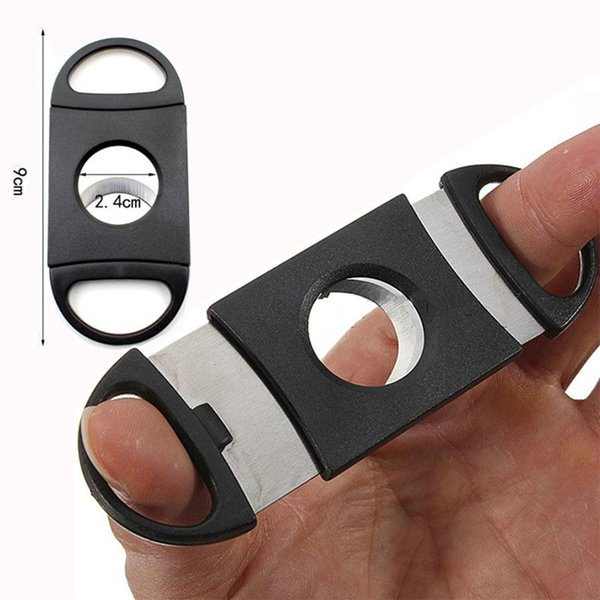 New Pocket Plastic Stainless Steel Double Blades Cigars Guillotine Cigar Cutter Knife Scissors Tobacco Black New In Stock