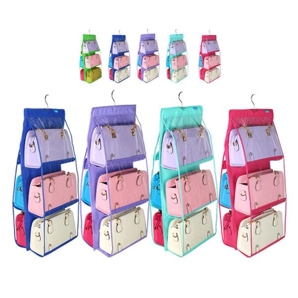 6 Pockets Hanging Storage Bag Purse Handbag Tote Bag Storage Organizer Closet Rack Hangers 9 colors GGA394 12pcs