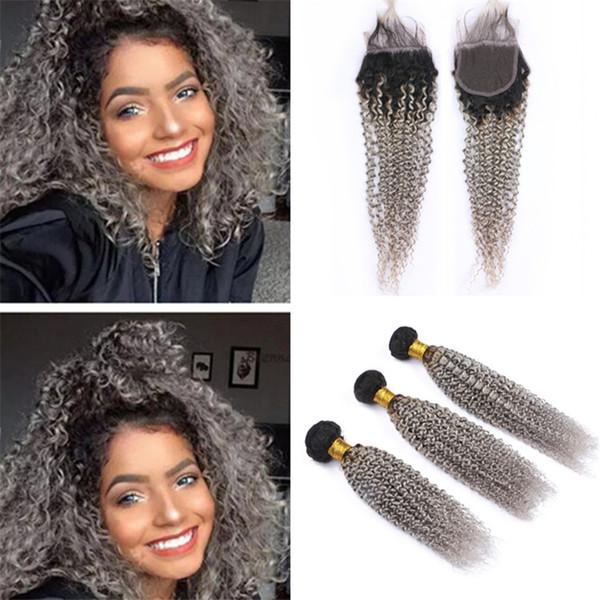 Virgin Peruvian Grey Ombre Menschenhaar-Spitze-Schließung und Bündel verworrene lockige dunkle Wurzeln graue Ombre-Jungfrau-Haar-Webart mit Schließung