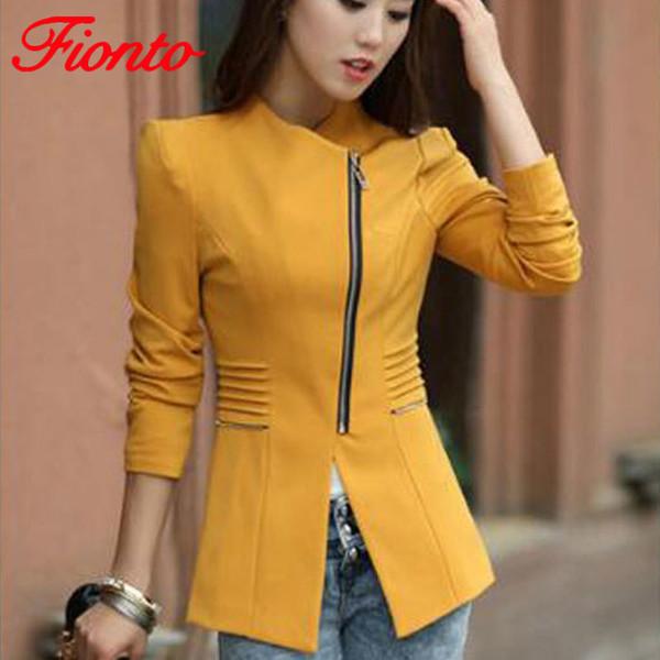 Women Blazers Short Jacket 2018 Autumn Winter Solid Coat Casual Slim Suit Cardigan Blazer Feminino Black Outwear Plus Size A2560 S18101304
