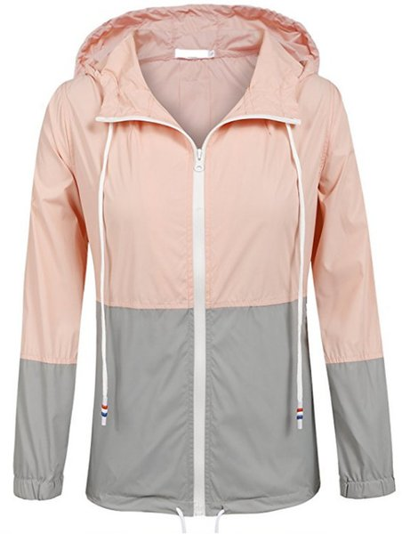 Outdoors Solid Color Split Joint Ma'am Windbreaker Loose Coat Fashion Concise Frivolous Defence Raincoat jackets for women printed