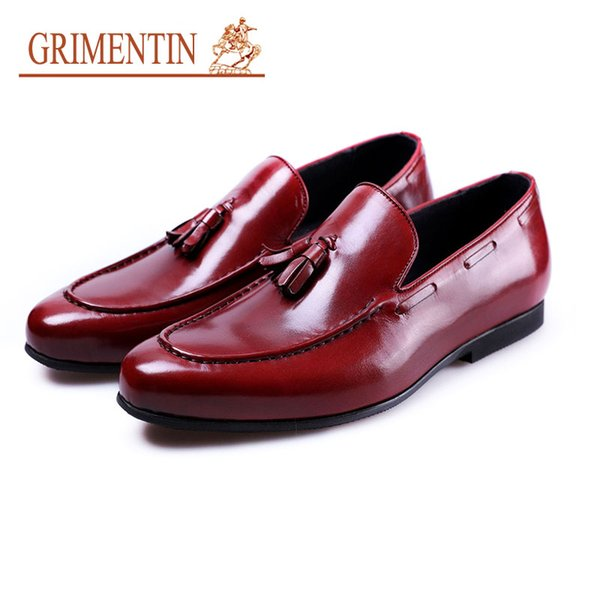 Grimentin Italian Fashion Designer tassel Men Loafers Hot Sale Dress Mens Casual Shoes Genuine Leather Slip On Formal Business Mens Shoes