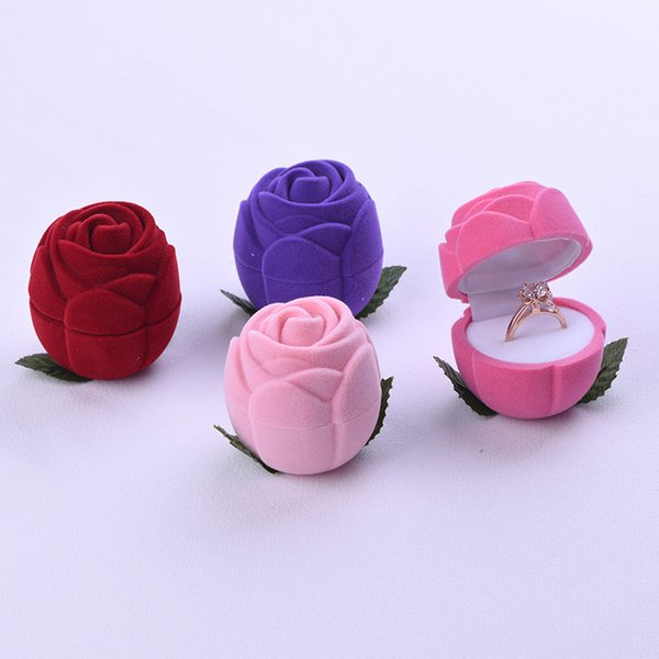 Ring Storage Boxes Ear Studs Earrings Packing Creative Multiple Colors Jewelry Fashion Rose Flannelette Hot Sale 2 98ms V