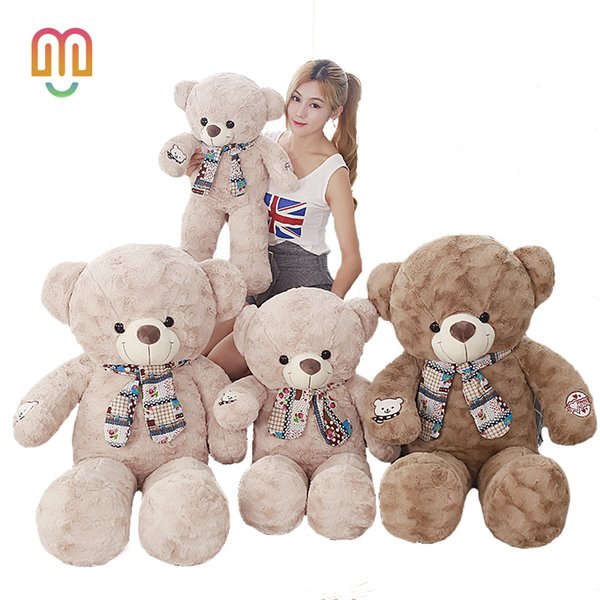Vanmajor 1 ADET 75/95 CM Dev Büyük Boy Teddy Bear Kawaii Ayı Peluş Oyuncaklar Doldurulmuş Hayvan Juguetes Kız Oyuncaklar Çocuk Hediye