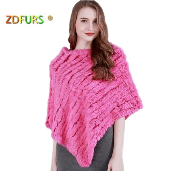 ZDFURS * autumn Winter women Genuine rabbit fur Poncho triangular fur shawl real Fur Wrap pullovers knitted rabbit cloak cape S18120301