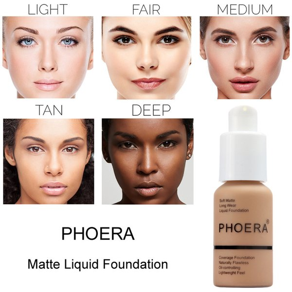 2018 New Brand Makeup Foundation PHOERA Matte Oil-contral Liquid foundation 10 Colors Concealer DHL Free Shipping