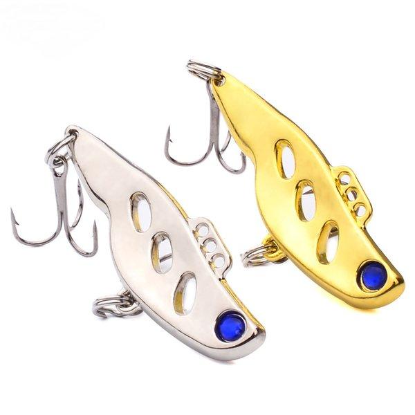 2 Unids / lote Señuelos de Pesca de Metal Vibe Bass CrankBait Vibes Cuchara Cebo Señuelo de Pescado Trastos VIB Cebos 4.5 cm 10.5g Con 8 # Ganchos