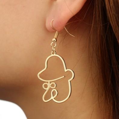 Abstract Clown Earrings Big Nose Gold Plated Stud Earrings Metal 3D Girls & Ladies Dangle Earrings