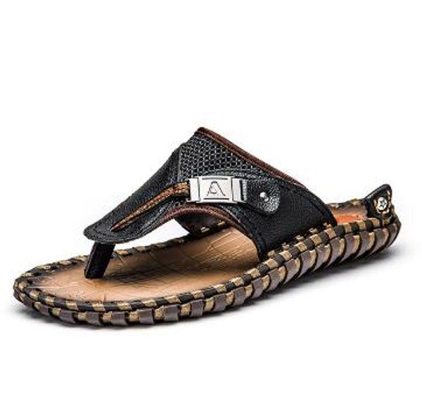 New Design COSIDRAM Genuine Leather Men Slippers Beach Shoes Men Flip Flops 2018 Summer Flat Heels Male Slides Luxury Plus Size 48