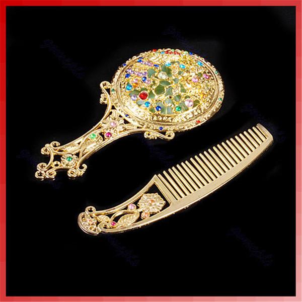Pettine dei capelli dello specchio della tasca tenuto in mano compatto del pelo di strass di trucco dell'annata del Rhinestone Cosmetico trasporto libero