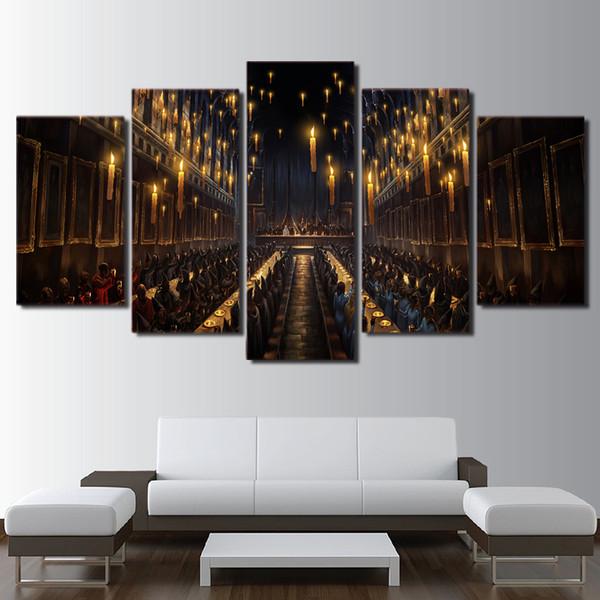 Großhandel Moderne Dekoration Wohnzimmer Wandkunst 5 Panel Film Harry  Potter Kirche Kerzenlicht Bild Magie Leinwand Malerei Drucken Rahmen Von ...