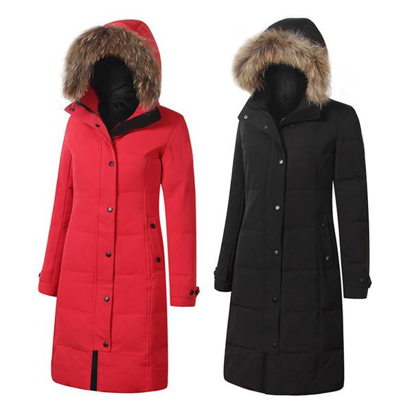 Women Designer Winter Coats 7 Colors Long Length Slim Parkas Branded Fur Hoodie Ribbed Long Sleeve Down Outerwears