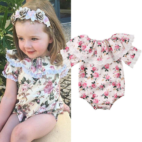 102a240447ac Retro floral baby girl romper onesies lace flower ruffle jumpsuit outfit  short sleeves kid girls clothing roupas bodysuit sunsuit 0-24M