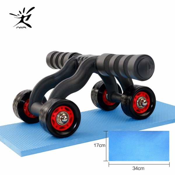 4 Wheels Power Wheel Triple Ab Roller Abs Abdominal Workout Fitness Machine Gym Knee Pad Outdoor Sports
