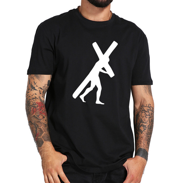 Imagen de la cruz de Jesús Camiseta impresa Hombre Algodón Inconformista Camiseta Homme Personaje Personalizado Ropa Hombres Camiseta clásica Nosotros Tamaño