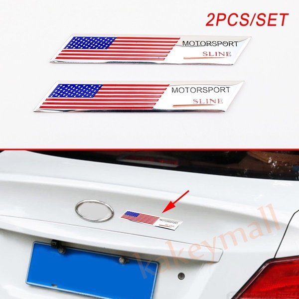 Pair Car Vehicle Accessories Body Decal Sticker Trim America US USA Flag Logo Emblem Badge Decoration
