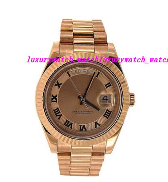 Relógios de luxo de alta qualidade em aço inoxidável pulseira de relógio rosa de ouro rosa Dial - 218235 41 milímetros de moda mecânica automática dos homens relógio de pulso