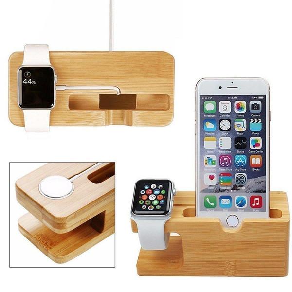 Soporte de carga de soporte de carga de soporte de carga de soporte de madera de bambú para todos los relojes de Apple y teléfonos inteligentes iPhone DHL gratis