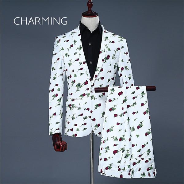 Rosette digital print fabric white suits for men Suitable for wedding host singer stage performance Men's 2 piece suits (Jacket + Pants)