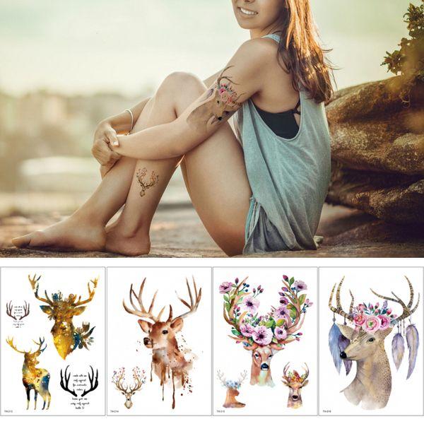 Flower Tribe Indian Elk Temporary Waterproof Tattoo Sticker Fake Body Art Decal for Women Men Arm Back Leg Chest Hand Neck Tattoo Beautiful