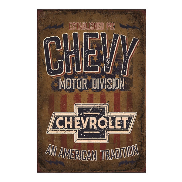 Chevrolet An American Tradition Decorative Retro Metal Poster Wall Cafe Bar Cave Pub Garden Living Room Club Plaque Artside Pin Up Girl