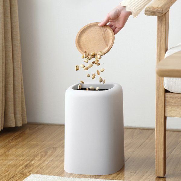 Creative Nordic Home Uncovered Double Trash Can Trash Living Room Bathroom Bedroom Kitchen Large Office Paper Box Collection Box Plastic