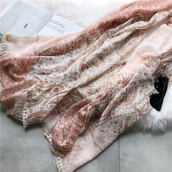2018 New Fashion Flower Vine Pattern Stitch Scarves Shawl Women Floral Leaf Print Tassel Wrap Muffler Hijab Wholesale 10pcs/lot