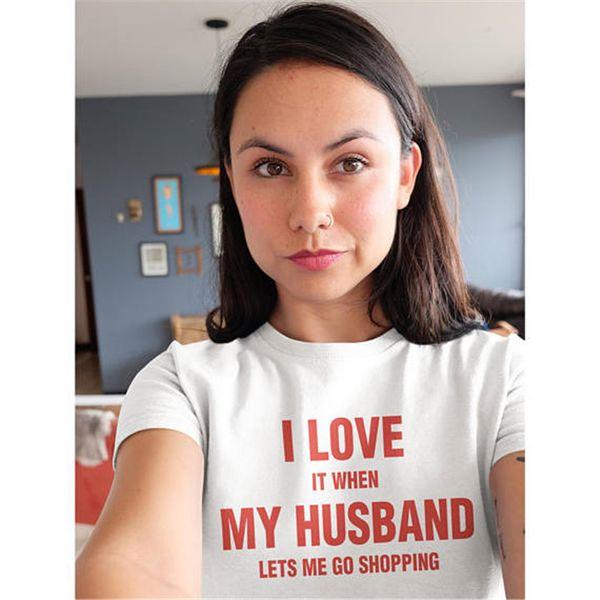 Майка для шоппинга Прохладные слова Я люблю мужа с коротким рукавом Уличный футболки Унисекс одежда Чистый цвет хлопок Футболка