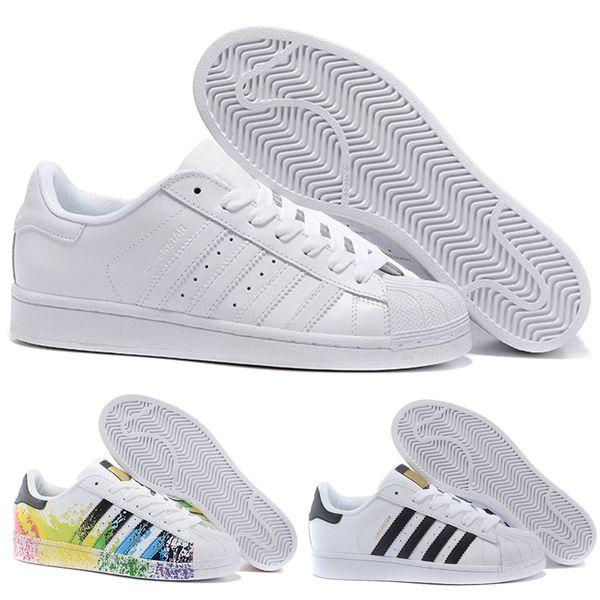 Adidas Sportschuhe Skate Frauen 2018 Hot Casual S Basketball Splash Schuhe Schuhe Superstar Regenbogen Mode Männer Größe Günstige Großhandel Tinte 80 EDH9WI2